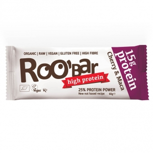 ROO'bar 100% RAW bio high protein szelet cherry&maca por
